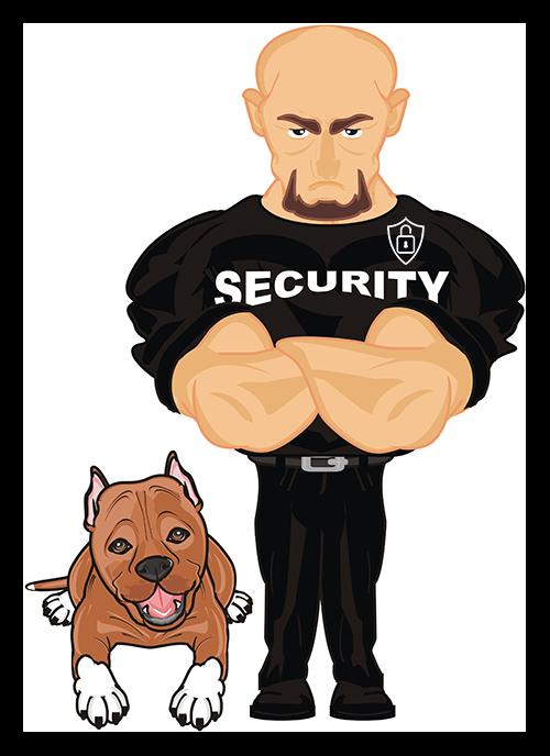 Illustration d'un agent de sécurité maitre-chien
